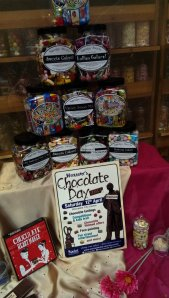 Front window decorated for Chocolate Day 2014