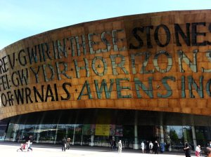 "Two poetic inscription  on the front of the building: ""Creu Gwir fel gwydr o ffwrnais awen"" (Creating truth like glass from the furnace of inspiration in Welsh) and  In These Stones Horizons Sing in English"