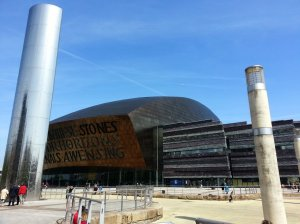 A view on  The Wales Millenium Centre from Roald Dahl Plass