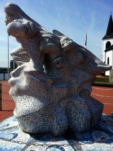 Antarctic 100 Captain Scott Memorial sculpture - side view