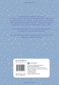 """Dunia Aradia"" back cover. The title can be translated as  ""Aradia's World"".  This is a tale of a modern day witch who tries to maintain two separate lives: the one among humans where she works as a translator and the supernatural one as the Queen of the Witches. Soon she will have to make an ultimate sacrifice, but is she ready to do it?"