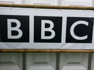 BBC logo on a billboard near the BBC stage