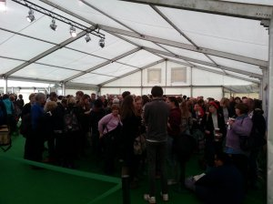 Queue to TATA tent before meeting with Steven Moffat