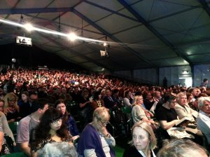 Public waiting for Steven Moffat inside the TATA tent