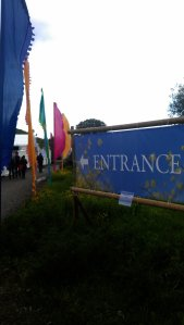 Entrance and colorful flags