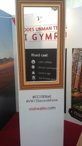 Reciting booth at Visit Wales.