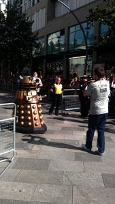 Dalek chasing the BBC cameraman