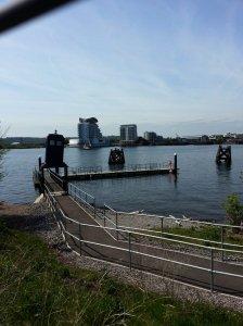 TARDIS at the entry to the marina