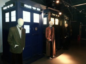TARDIS gallery - blue boxes that belonged to the 4th Doctor, 10th Doctor and 9th Doctor (from left to right)