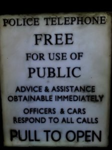 Police Telephone Free for Use of Public - every child knows that this is not a police box but a powerful time machine!