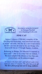 The fine cat comes with a message from the artist - Philippa Threlfall