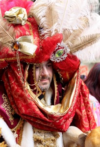 Professional Carnival actor from Venice. His costume was made for the use of local Italian theater and was one of a kind. Show stopper.