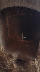Small cross made of straw left by one  of the pilgrims