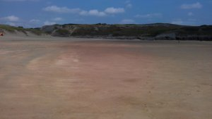 At low tide the beach is growing in size