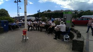 Brass band playing on the street of  Saundersfoot