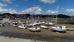 Saundersfoot marina at the low tide
