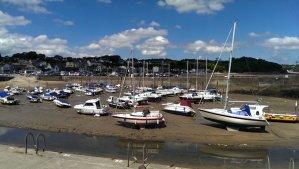 Saundersfoot marina at the low tide