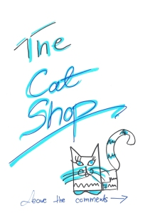 Front page of The Cat Shop guest book 2015, drawn by Rita