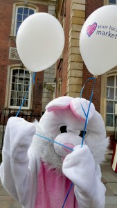 Bunny with balloons. Hopefully we will see him coming back next year.