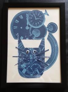 Wibbly wobbly timey wimey cat framed
