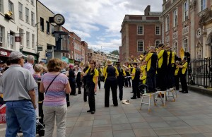 Gugge 2000 play in front Guildhall on the High Street, Worcester as a part of Summer Festival