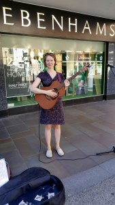 Bristol based singer Saskia Griffiths -Moore busks in Worcester in September 2016